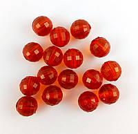 Пластиковая бусина, граненый шар, красная 10 мм, 500 г