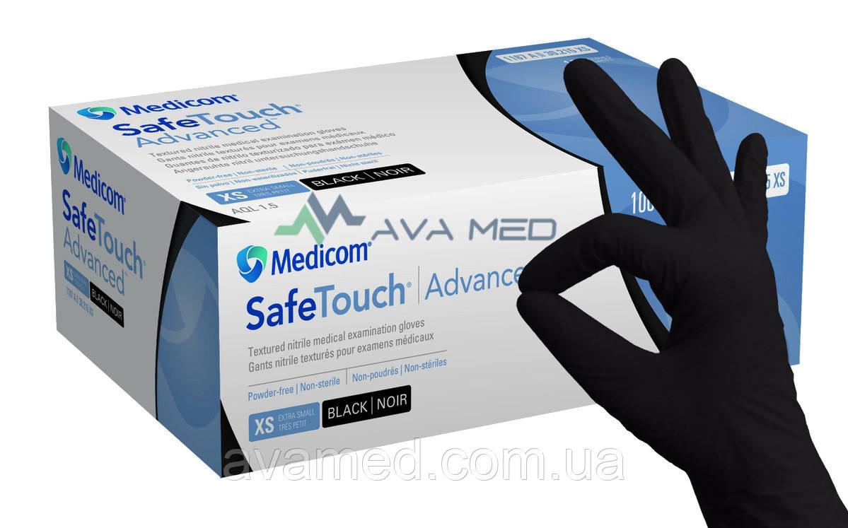 Рукавички Medicom SafeTouch Advanced Black, чорні нітрилові оглядові нестерильні, неопудрені (100 шт)