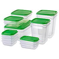 Набор пластиковых судочков IKEA для хранения продуктов, контейнеры пищевые прямоугольные, зеленые 17 шт.