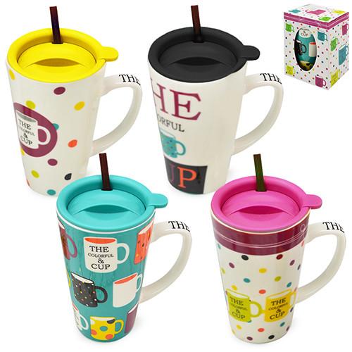 """Чашка с крышкой и трубочкой """"Colorful cup"""" 550мл"""
