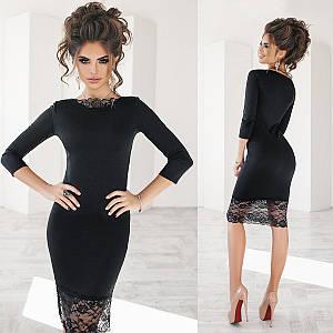 Черное платье футляр с кружевом (Код MF-227) L