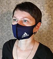 Маска Adidas Адидас многоразовая защитная Питта с принтом ткань Темно-синяя