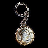Брелок икона серебряная Богородица Казанская с позолотой круглый, фото 1
