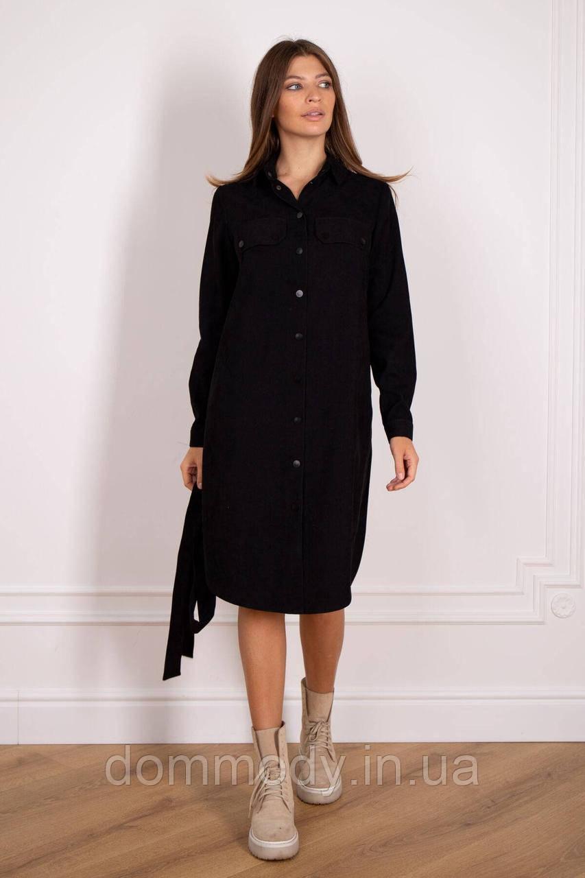 Платье-рубашка женское черного цвета
