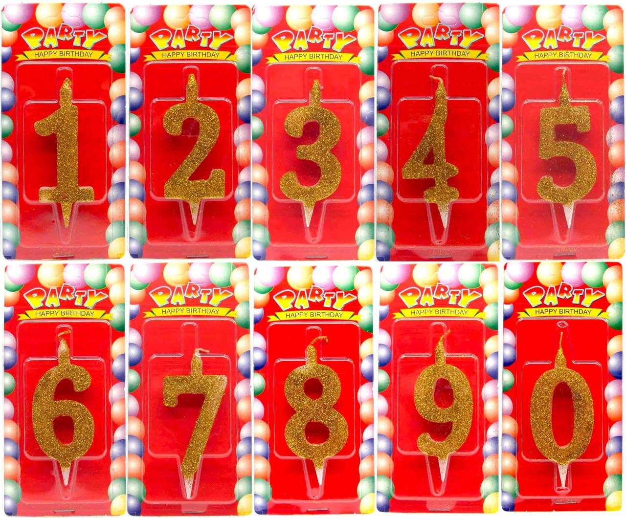 "Свечки циферки для торта ""Золото"". В упак:72шт, от""0""до""9"". Цвета: Ассорти"