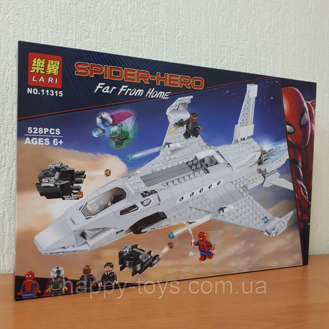 Конструктор Человек Паук Lari 11315 Супер Герои Реактивный самолёт Старка и атака дрона 528 деталей
