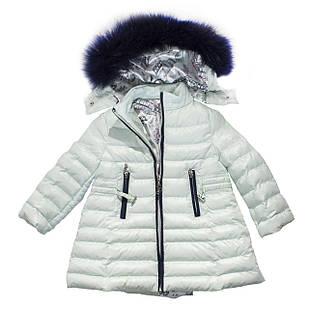 Зимний пуховик для девочки с натуральным мехом, еврозима, размер 3 года
