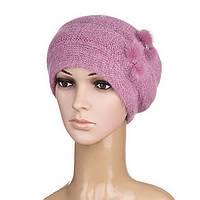 Вязаная женская шапка Nella ангора цвет ягодный, фото 1