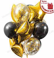 """Воздушные шары """"Gold&Black"""" набор - 12 шт., Италия"""