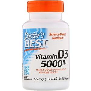 Витамины и минералы Doctor's Best Vitamin D3 125 mcg (5000 IU) (360 капсул.)