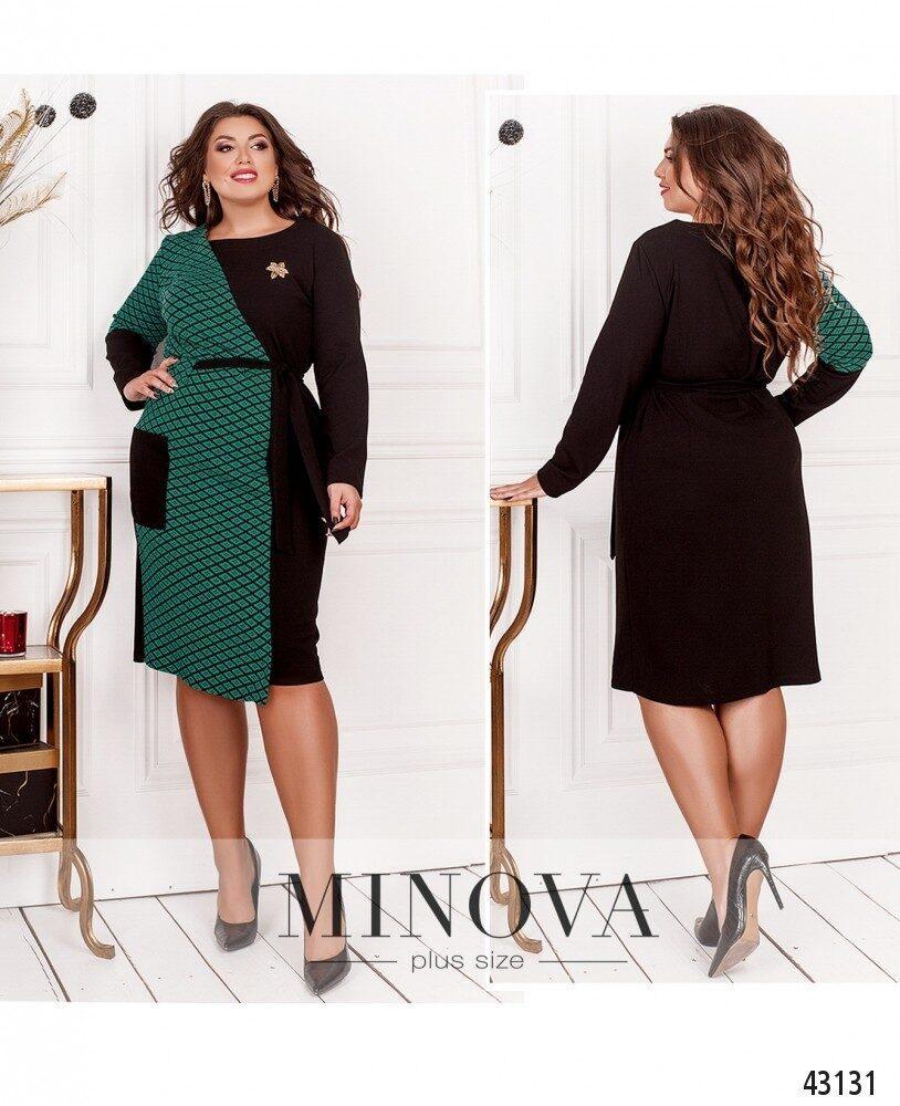 Яркое платье большого размера с контрастными вставками размеры: 50-52, 54-56, 58-60, 62-64, 66-68