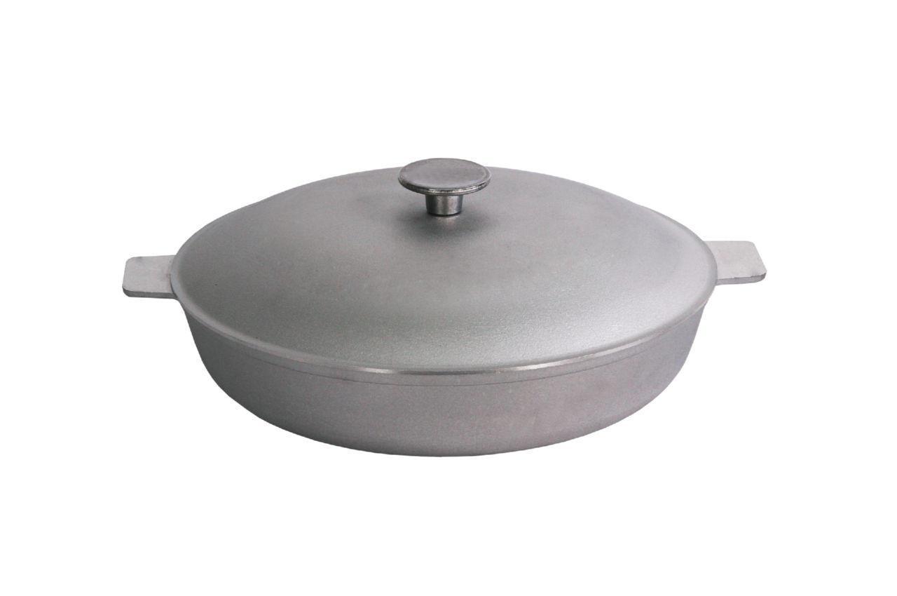 Сковорода алюминиевая Биол - 300 х 104 мм, с рифленым дном и крышкой (2 ручки) (A301)