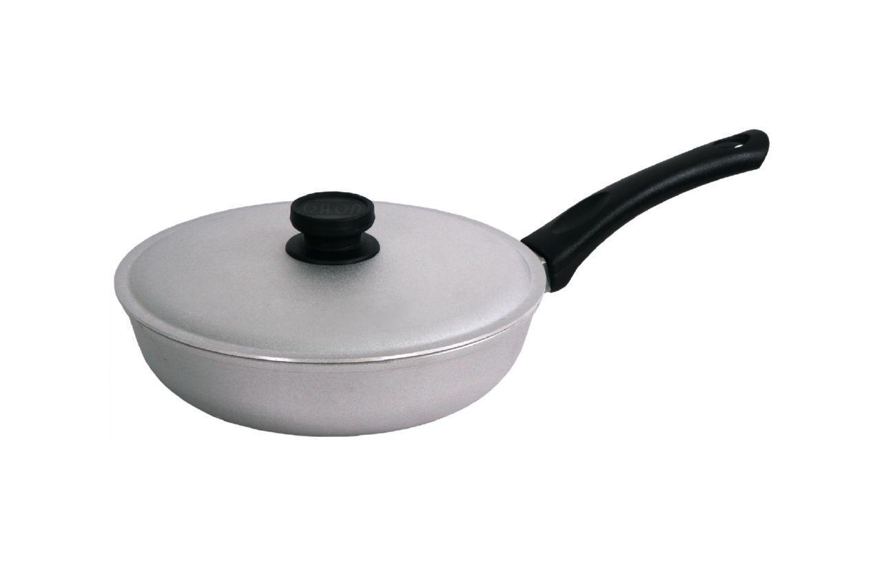 Сковорода алюминиевая Биол - 200 мм, с рифленым дном и крышкой (A201)