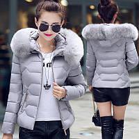 Куртка женская демисезонная меховой воротник с капюшоном