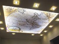 Натяжной потолок с печатью и подсветкой