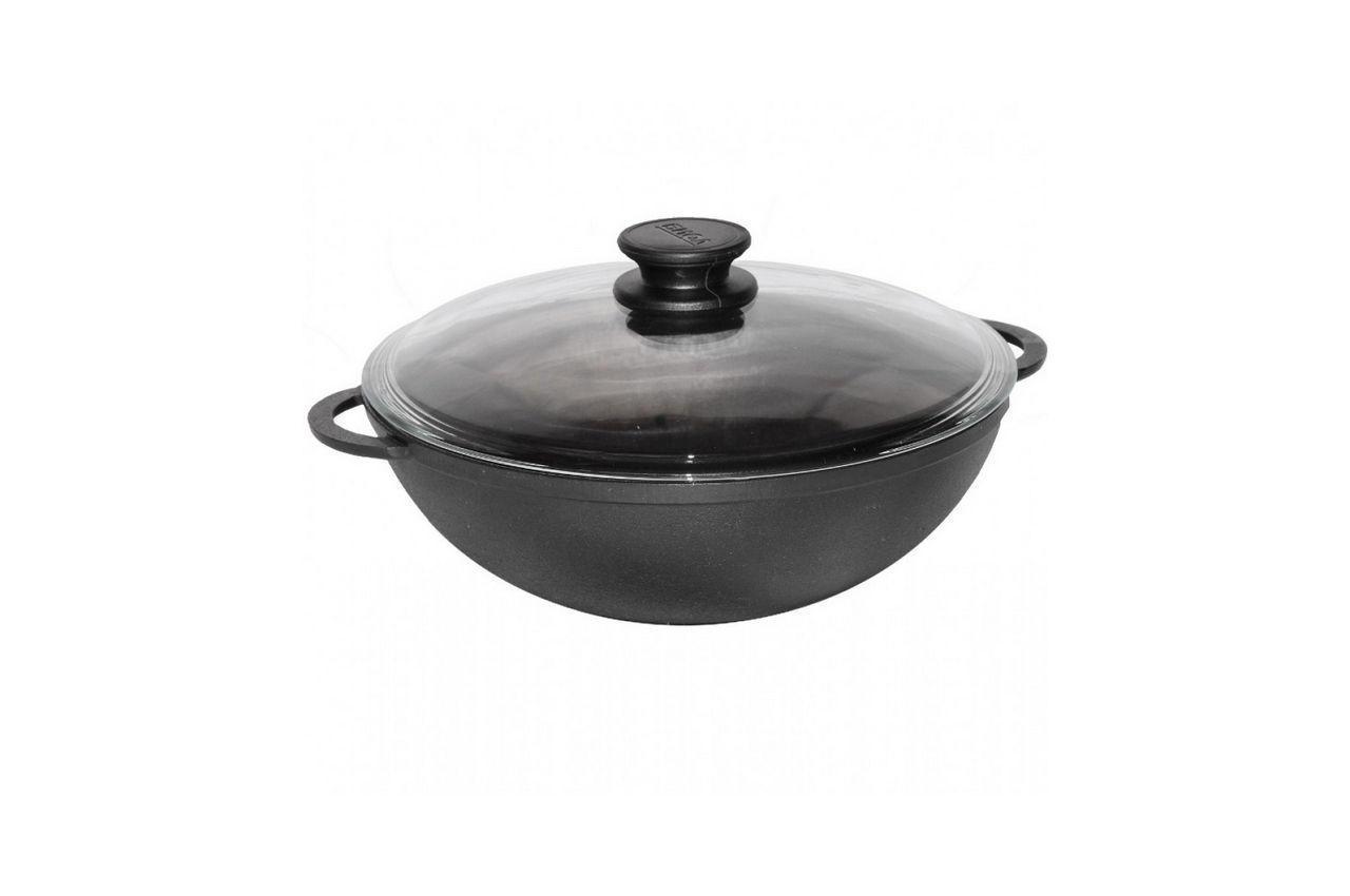Сковорода чугунная Биол - 280 х 160 мм х 4 л wok с крышкой (0528C)