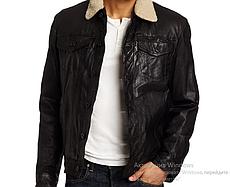 Зимняя кожаная куртка Levis Trucker -  Black ( XL)