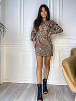 Платье женское с объемными рукавами чёрный, леопард 42-44,46-48