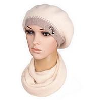 Комплект женский вязаный берет и шарф Inga ангора цвет бежевый