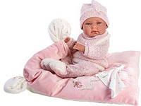 Лялька Llorens 73860 дівчинка Ніка 38 см на рожевому ковдрі, фото 1