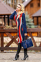 Спокойное теплое платье с волнообразным принтом, платье футляр, трикотаж-стрейч, 48-52 размеры, фото 1