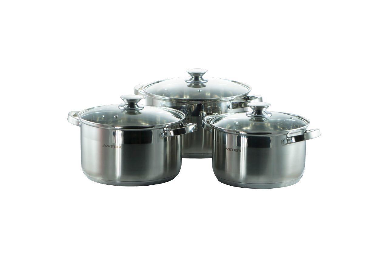 Набор посуды нержавеющий Astor - 2,1 x 3,9 x 6,1 л (3 шт.) (AST1702)