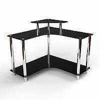 Угловой компьютерный стол из прозрачного стекла модель Марко