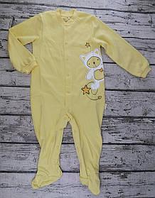Комбінезон для малюків На кнопках зростання 86 см 1,5 року Байка Жовтий Бавовна КБ77(86)жовтий Бембі Україна