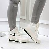 Молодежные высокие белые зимние женские кроссовки текстиль плащевка, фото 2