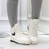 Молодежные высокие белые зимние женские кроссовки текстиль плащевка, фото 4