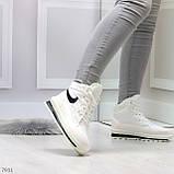 Молодежные высокие белые зимние женские кроссовки текстиль плащевка, фото 5