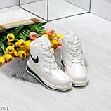 Молодежные высокие белые зимние женские кроссовки текстиль плащевка, фото 7