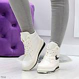 Молодежные высокие белые зимние женские кроссовки текстиль плащевка, фото 8
