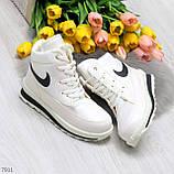 Молодежные высокие белые зимние женские кроссовки текстиль плащевка, фото 10