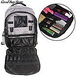 Большой серый рюкзак для парикмахерских инструментов (инструменты не входят в комплект) 49х34х11 см, фото 2