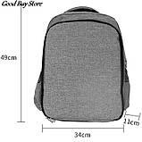 Большой серый рюкзак для парикмахерских инструментов (инструменты не входят в комплект) 49х34х11 см, фото 8