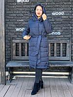 Зимнее пальто женское длинное темно-синий M032