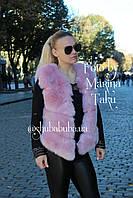 Женская короткая жилетка безрукавка Эко Мех Розовый