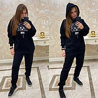 Молодежный теплый спортивный костюм, черный, арт. CDM-7598