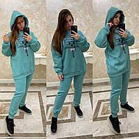 Молодежный теплый спортивный костюм, бирюза , арт. CDM-7598