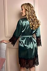 Изумрудный атласный халат с кружевной отделкой, фото 3