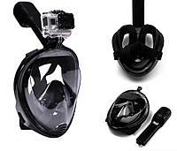 Инновационная маска для снорклинга подводного плавания Easybreath, Маска для ныряния S/M черная