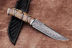 """Элитный нож ручной работы с рукоятью из зубa мaмонтa """"Prometheus"""", мозаичный дамаск, фото 2"""