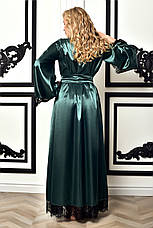 Шикарный длинный атласный халат Изумруд. Размеры от XS до XXХL, фото 3