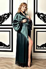 Шикарный длинный атласный халат Изумруд. Размеры от XS до XXХL, фото 2