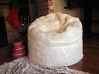 Кресло мешок из белого искусственного меха