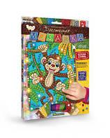 """Набор для творчества """"Блестящая мозаика"""" Обезьянка, Dankotoys, crystal mosaic kids,выкладывание картин из"""