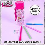 Детская бутылка расраска для воды ЛОЛ  LOL Surprise Color Your Own Water Bottle, фото 3
