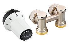 Комплект термостатический Danfoss, регулятор, набор клапанов для подключения радиатора/батареи RAS-CK + RLV-KS