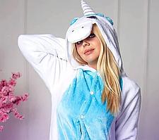Детская пижама Кигуруми Единорог Бело-голубой с крыльями S (на рост 148-158см)